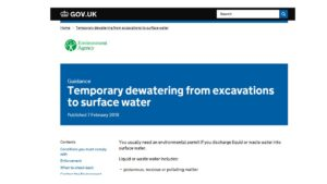 Temporary dewatering from excavations to surface water