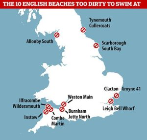 Revealed: The 10 English beaches tourists are told are too dangerous to swim at because the water is too dirty